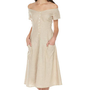 WAYF Perry Linen Blend Midi Dress NWT 55% off